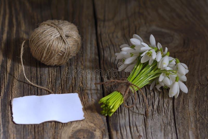 Snödroppeblommor och ett tomt anmärkningskort på träbakgrund arkivfoto