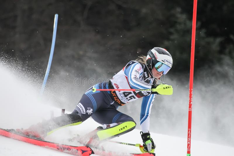 Snödrottningtrofé 2019 - damslalom royaltyfria bilder