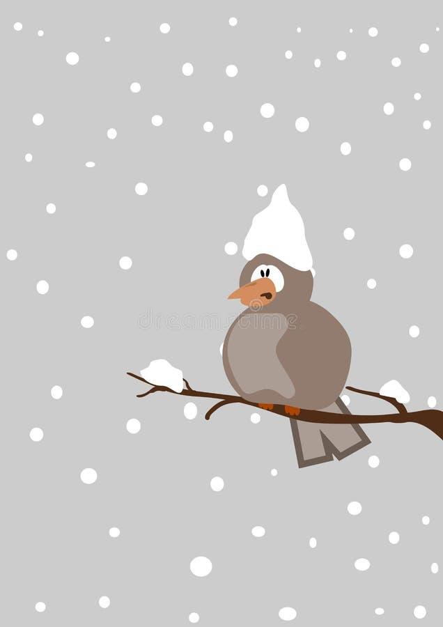 Snöfall fågel på en fatta royaltyfri illustrationer