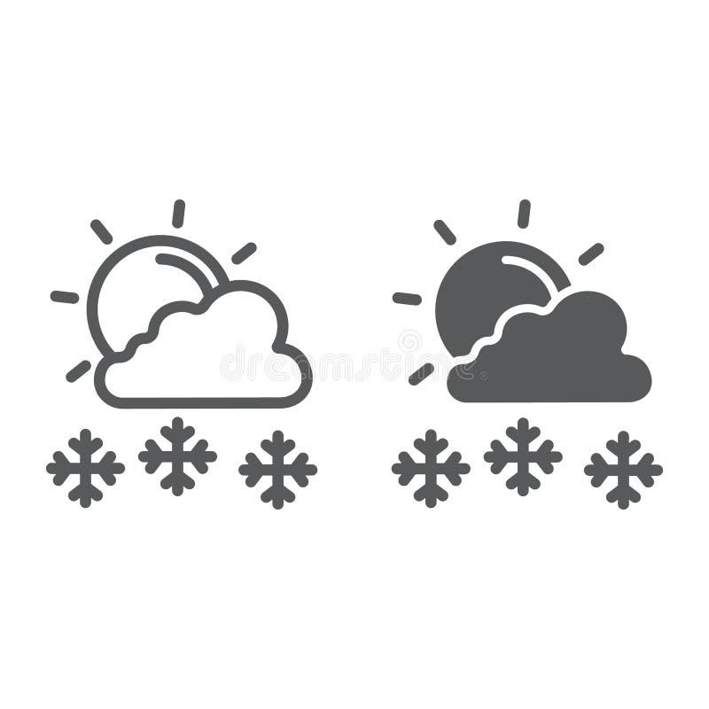 Snöfall i linje för solig dag och skårasymbol, väder och prognos-, sol- och snötecken, vektordiagram, en linjär modell på vektor illustrationer