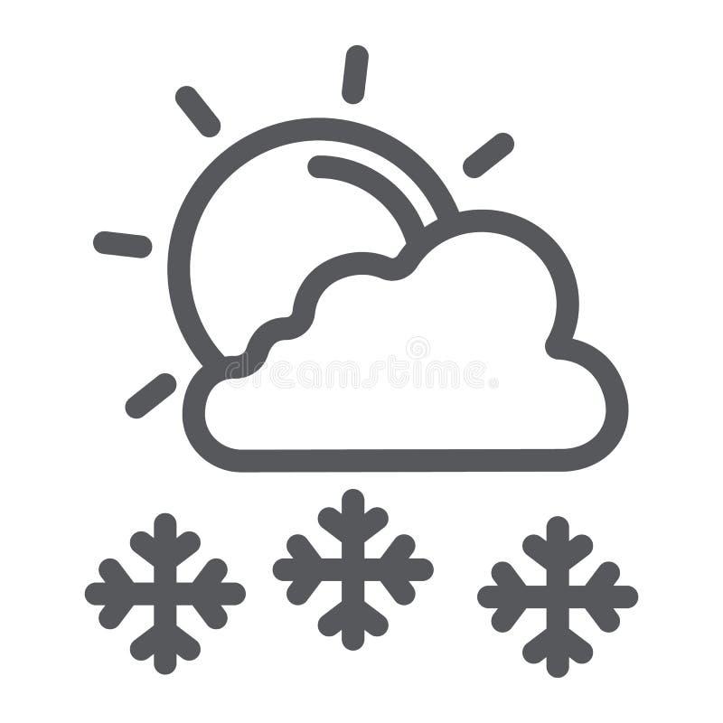 Snöfall i linjen symbol för solig dag, väder- och prognos-, sol- och snötecken, vektordiagram, en linjär modell på ett vitt royaltyfri illustrationer