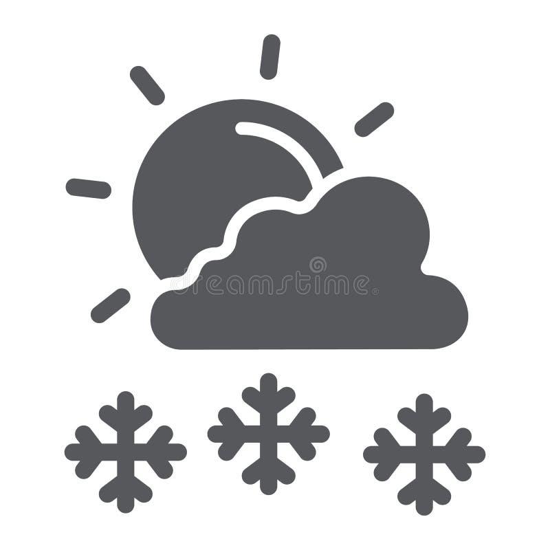 Snöfall i skårasymbol för solig dag, väder- och prognos-, sol- och snötecken, vektordiagram, en fast modell på ett vitt royaltyfri illustrationer