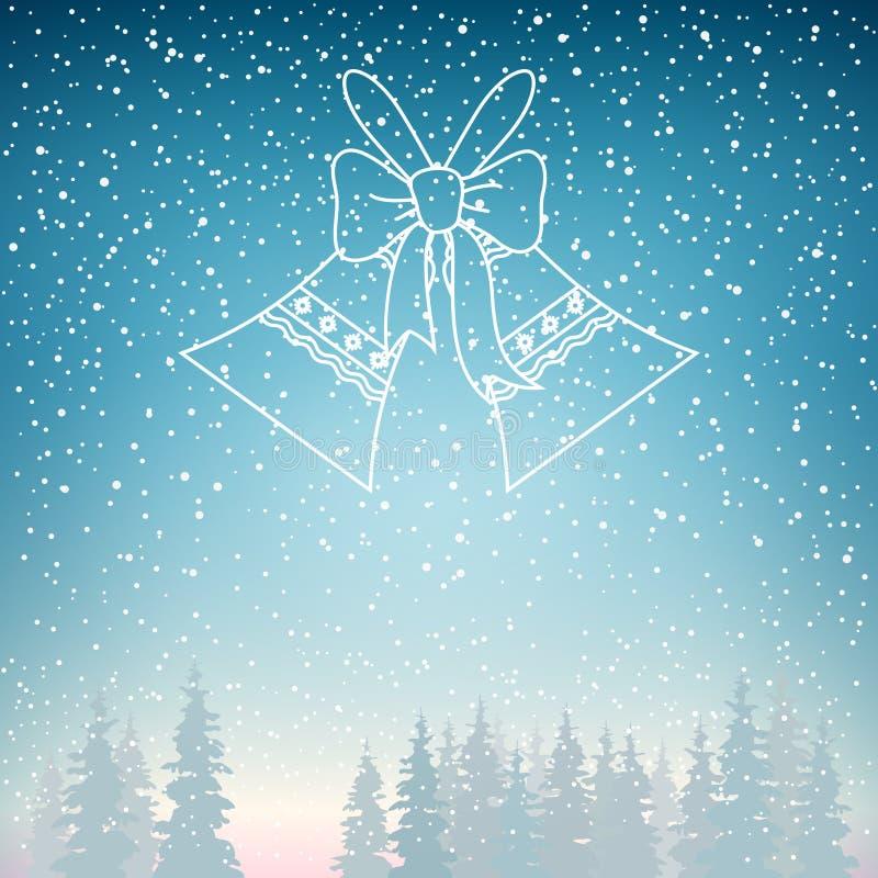 Snöfall och ferie Jingle Bells vektor illustrationer