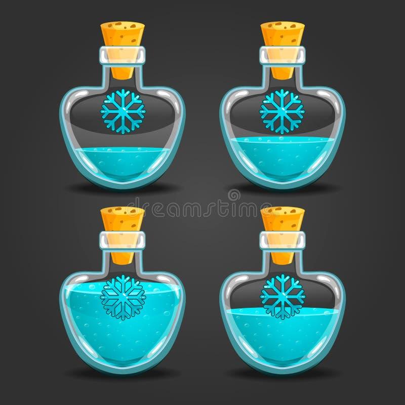 Snöflaskor med den olika vätskenivån vektor illustrationer