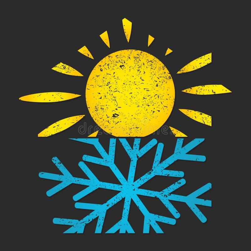 Snöflinga- och solluft som betingar för hem royaltyfri illustrationer