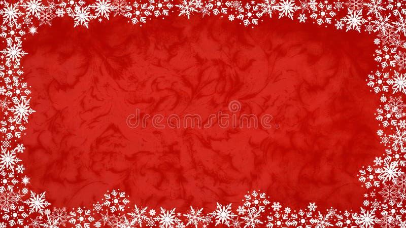Snöflinga & röd bakgrunds16:9 royaltyfria bilder