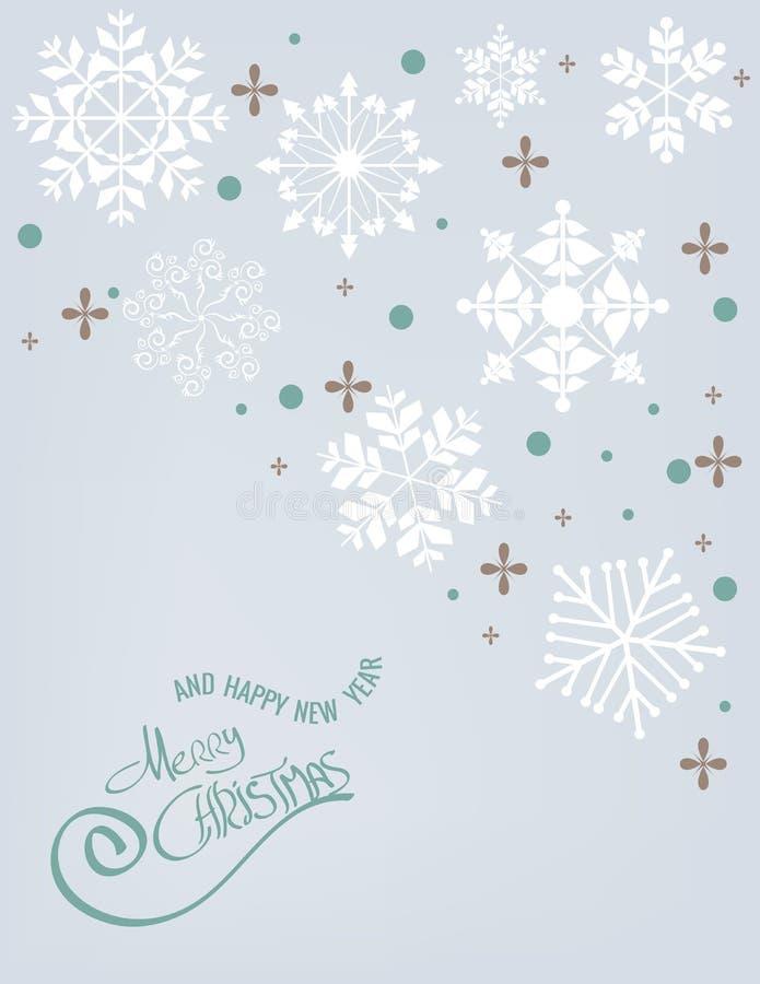 Snöflingabakgrund för glad jul arkivfoto
