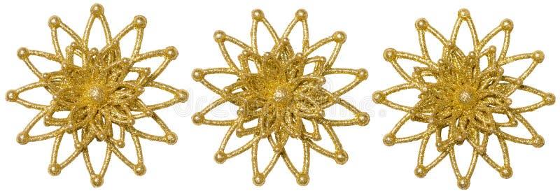 Snöflingajul dekorativ uppsättning, för gnistrandesnö för Xmas guld- flinga royaltyfri foto