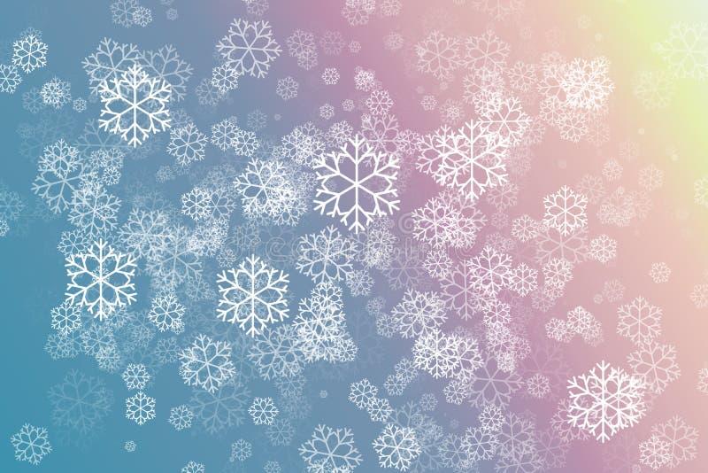 Snöflingan i rosa färger och blått färgar abstrakt bakgrund stock illustrationer