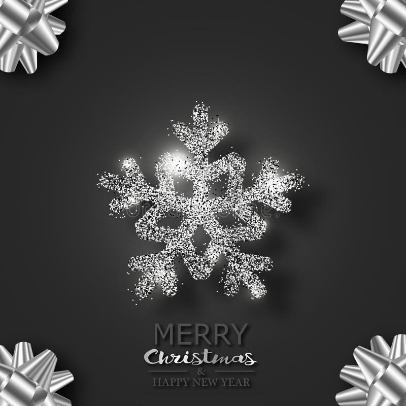 Snöflingan med mousserar och markerar på en svart bakgrund bakgrundskortjul som greeting rengöringsduk för sidamalluniversal vektor illustrationer