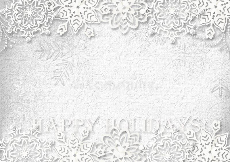 Snöflingapapper på vit texturerad bakgrund greeting lyckligt nytt år för 2007 kort stock illustrationer
