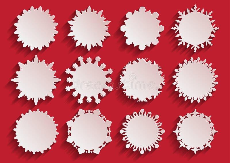 Snöflingaramar för vitbok 3d vektor illustrationer