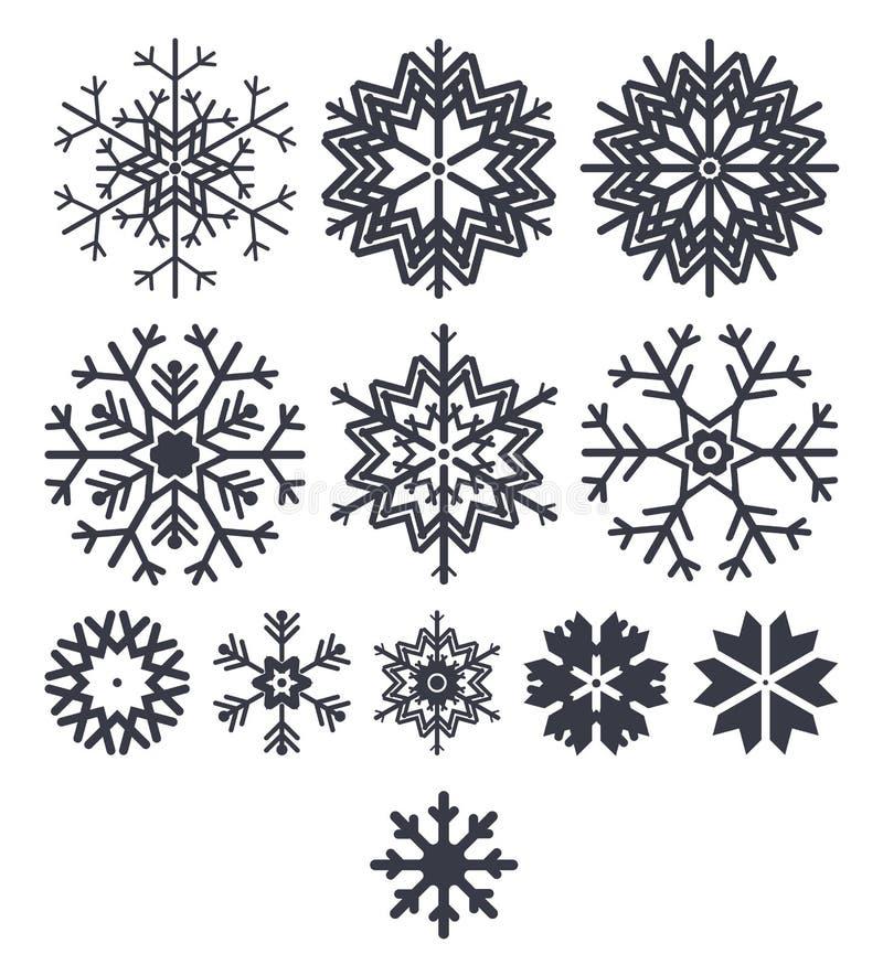 Snöflingasymbolssamling som isoleras på vit bakgrund royaltyfri illustrationer