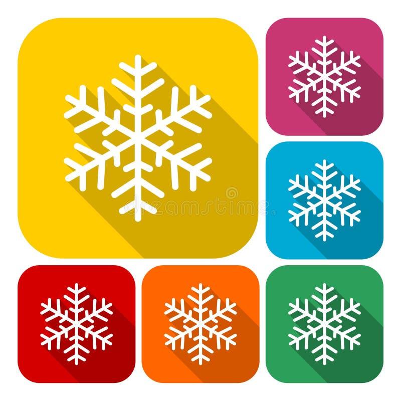 Snöflingasymbolsuppsättning med lång skugga stock illustrationer