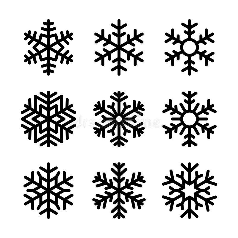 Snöflingasymbolsuppsättning på vit bakgrund vektor royaltyfri illustrationer