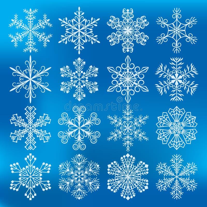 Snöflingavektorsymboler vektor illustrationer