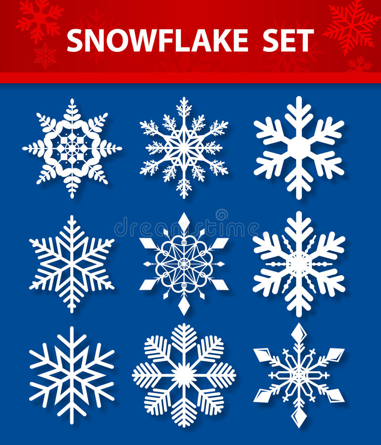 Snöflingavektoruppsättning vektor illustrationer