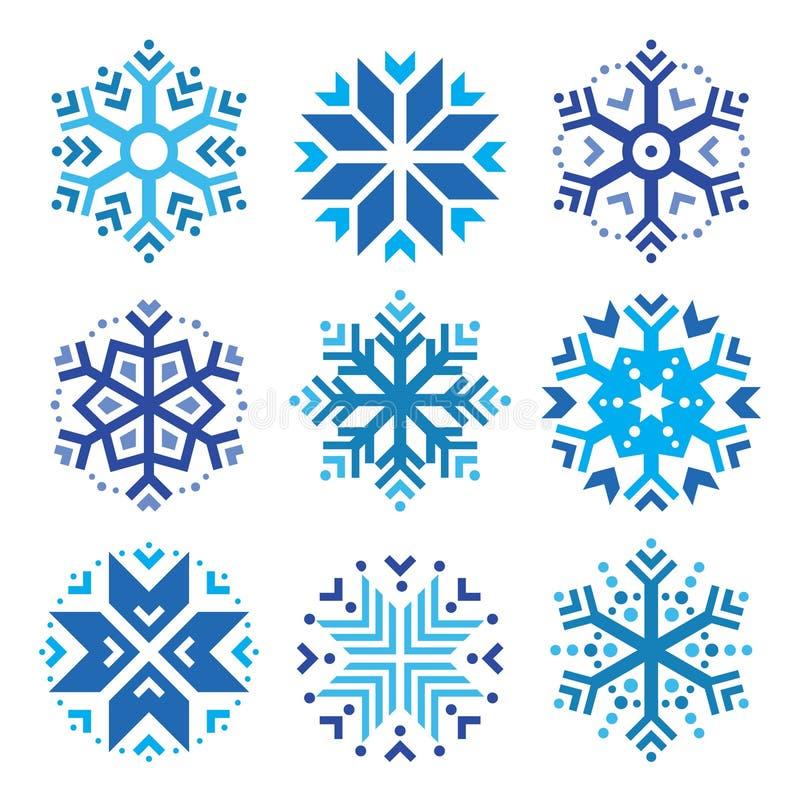 Snöflingor blå symbolsuppsättning för vinter stock illustrationer