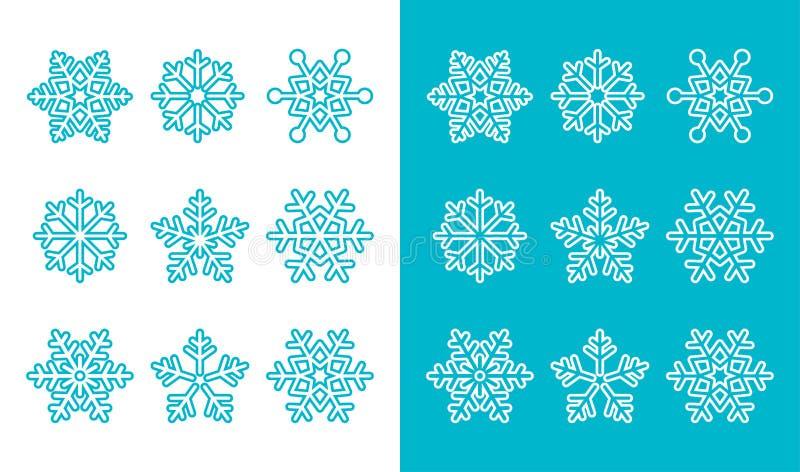Snöflingor för garneringsymboler för vinter blå uppsättning stock illustrationer
