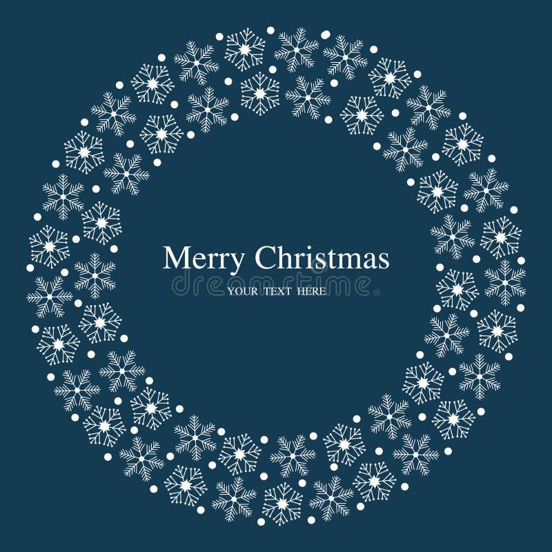 Snöflingor för glad jul sänker den blåa vykortet royaltyfri foto