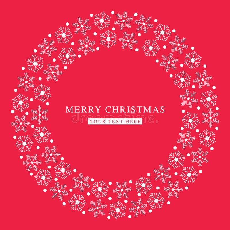 Snöflingor för glad jul sänker den röda vykortet royaltyfri fotografi