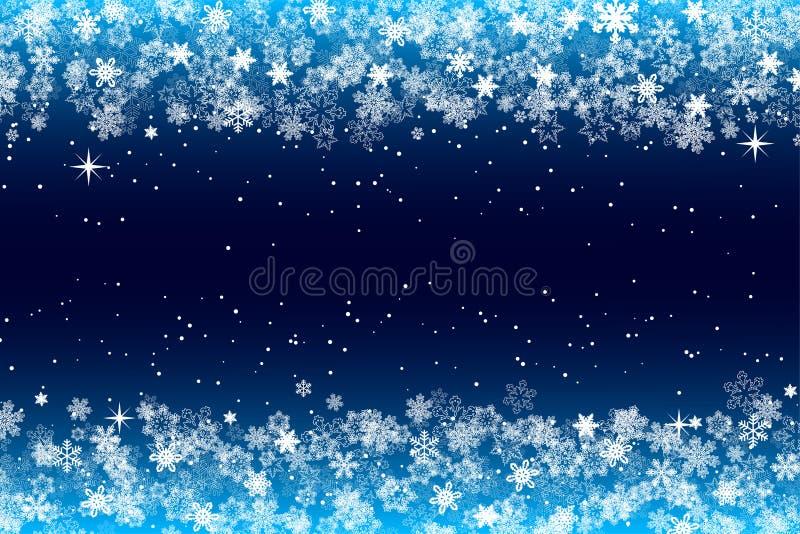 Snöflingor inramar med mörkt - blå bakgrund för säsongmallen för jul och för det nya året eller vinterför inviationen, hälsningko vektor illustrationer