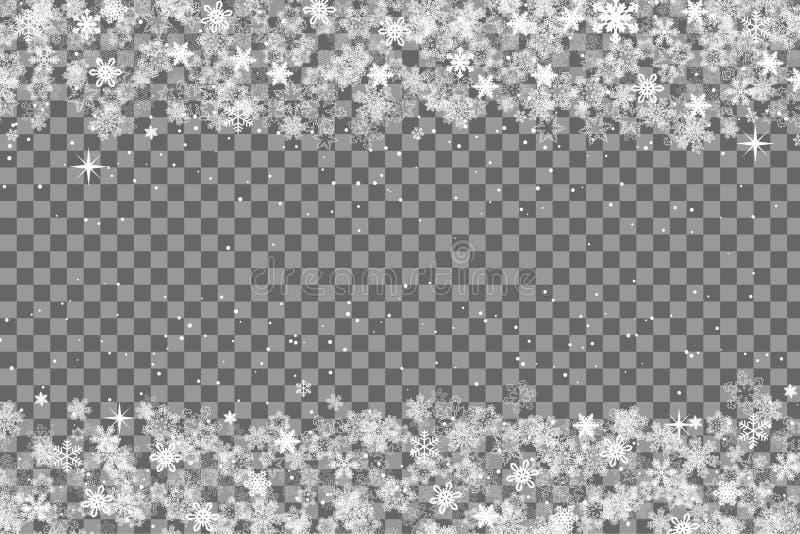 Snöflingor inramar med trasnparent bakgrund för säsongmallen för jul och för det nya året eller vinterför inviationen, hälsningko royaltyfri illustrationer