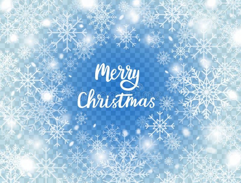 Snöflingor på blå genomskinlig bakgrund Glad julkort med snö och snöflingor vinter för blåa snowflakes för bakgrund vit Froststor stock illustrationer