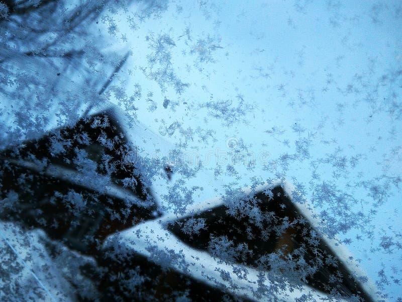Snöflingor på ett exponeringsglas mot en blå himmel och hus royaltyfria bilder