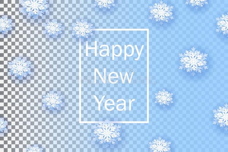 Snöflingor på genomskinlig bakgrund Lyckligt nytt år 2019 Julbaner med snöflingan Vektorillustration med fallande snö vektor illustrationer