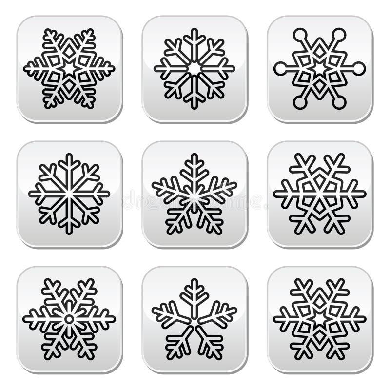 Snöflingor svartvit knappuppsättning för vinter royaltyfri illustrationer