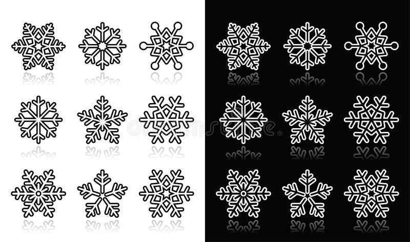 Snöflingor svartvit symbolsuppsättning för vinter stock illustrationer