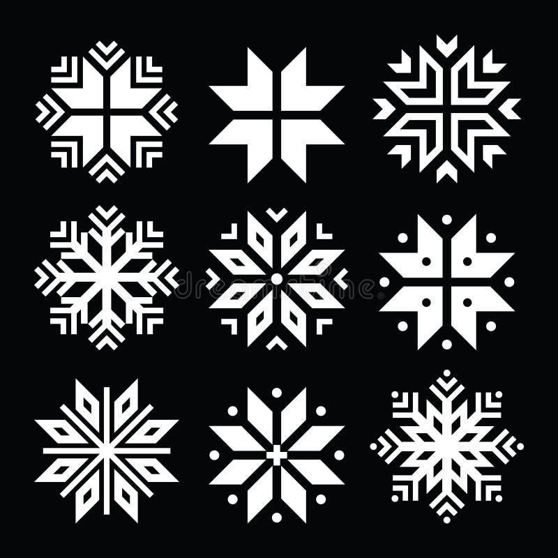 Snöflingor vita symboler för jul ställde in på svart royaltyfri illustrationer
