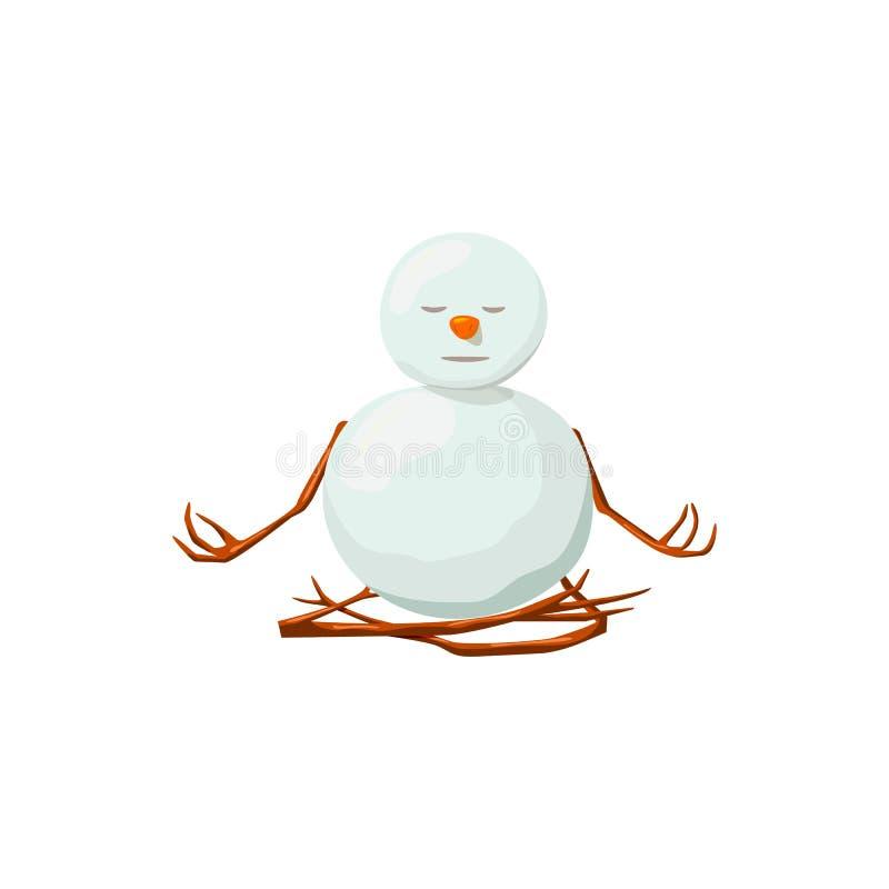 Snögubbe Dyrbart frostigt, artigt, upplyst, vänligt, vindögdhet, yoga vektor illustrationer