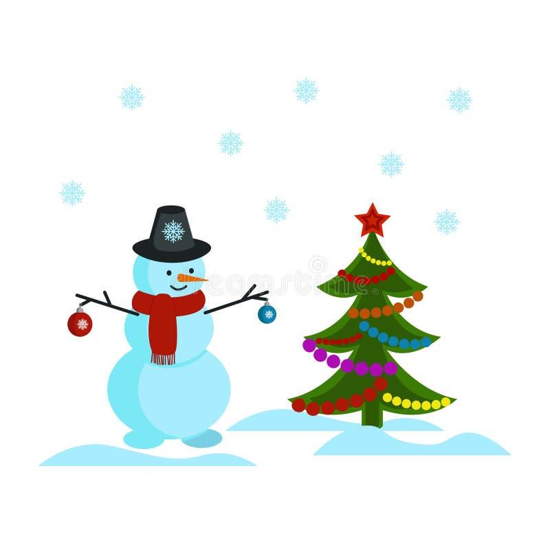 Snögubbe i en hatt som rymmer julleksaker som står bredvid julgranen Snögubbe snöflingor, julgran royaltyfri illustrationer