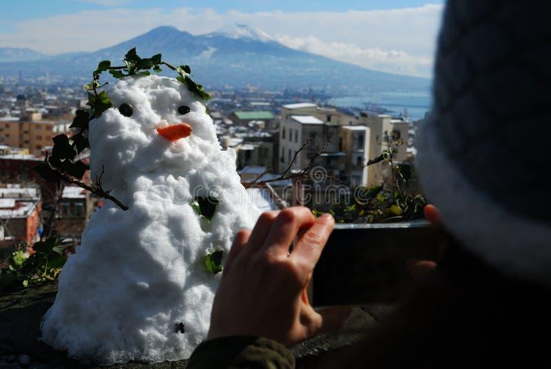 Snögubbe i Naples arkivbilder