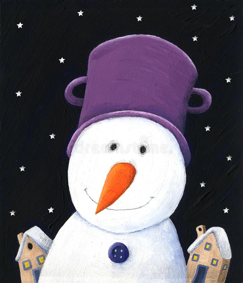 Snögubbe med den purpurfärgade krukan i vinternatten stock illustrationer