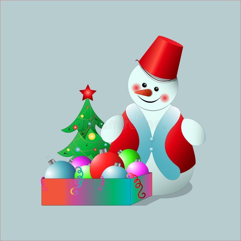 Snögubbe med en ask av leksaker för ` s för nytt år arkivbilder