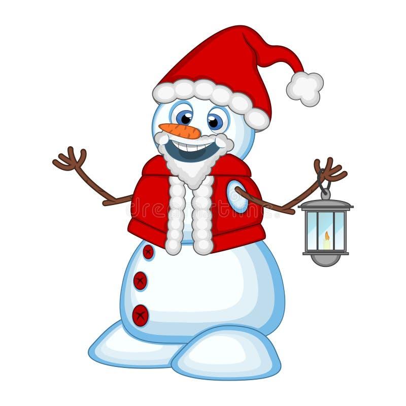 Snögubbe med en lykta och att bära en Santa Claus dräkt för din designvektorillustration vektor illustrationer