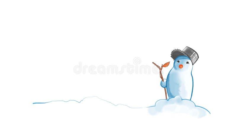 Snögubbe med en stam stock illustrationer