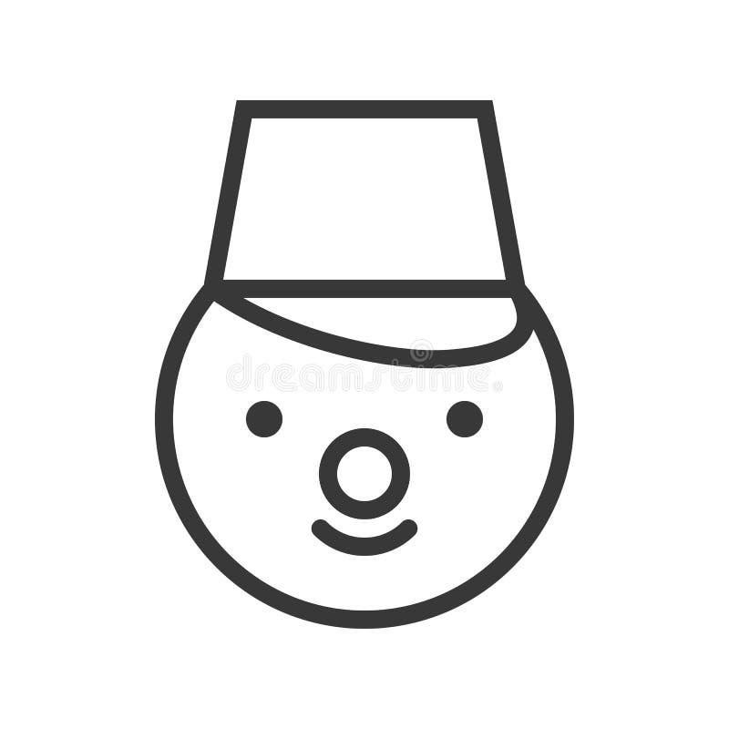 Snögubbe med hinken, temauppsättning för glad jul, redigerbar översikt stock illustrationer