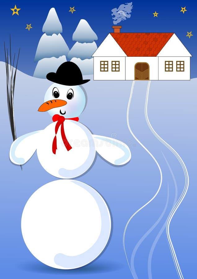 Snögubbe med plommonstopet i ett snöig landskap med det lantliga huset och prydliga träd Tände den idylliska bilden för den dunkl vektor illustrationer