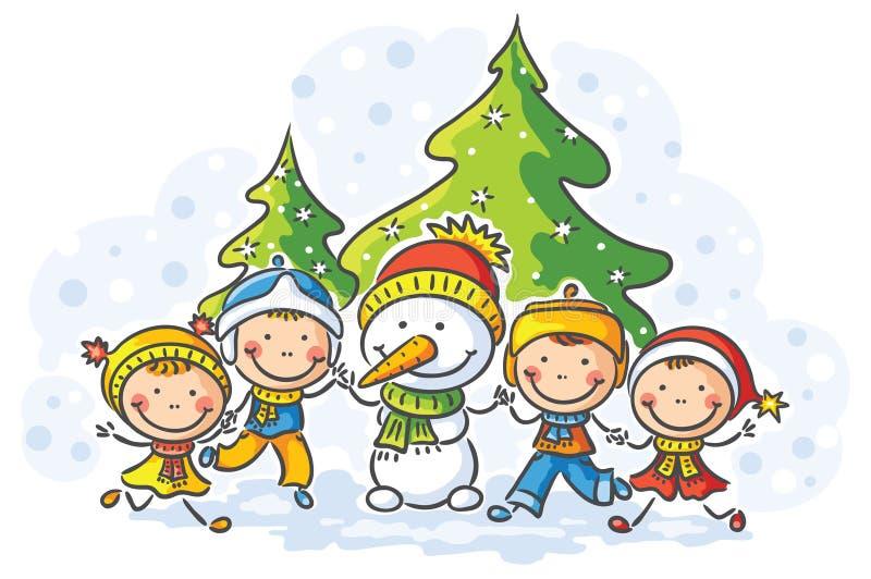 Snögubbe och ungar på en vinterdag stock illustrationer