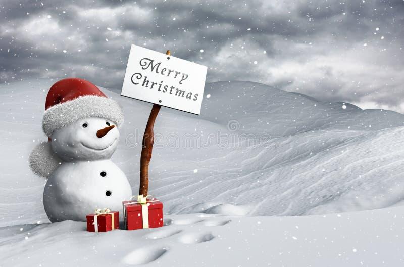 Snögubbe på jul royaltyfri illustrationer