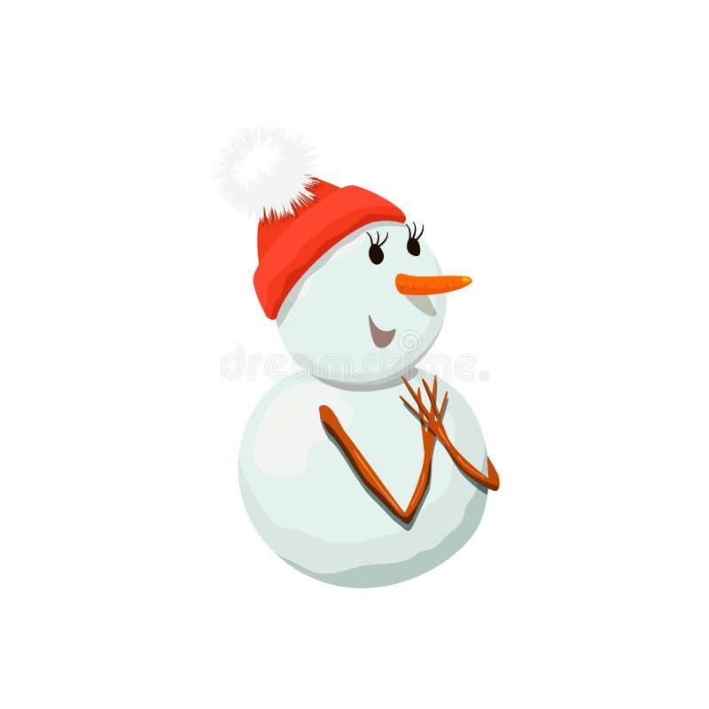 Snögubbe Snowwoman Dyrbart frostigt, artigt, blygt, vänligt, vindögdhet, vektor illustrationer
