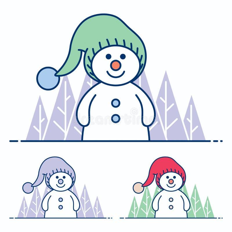 Snögubbelägenhetdesign stock illustrationer