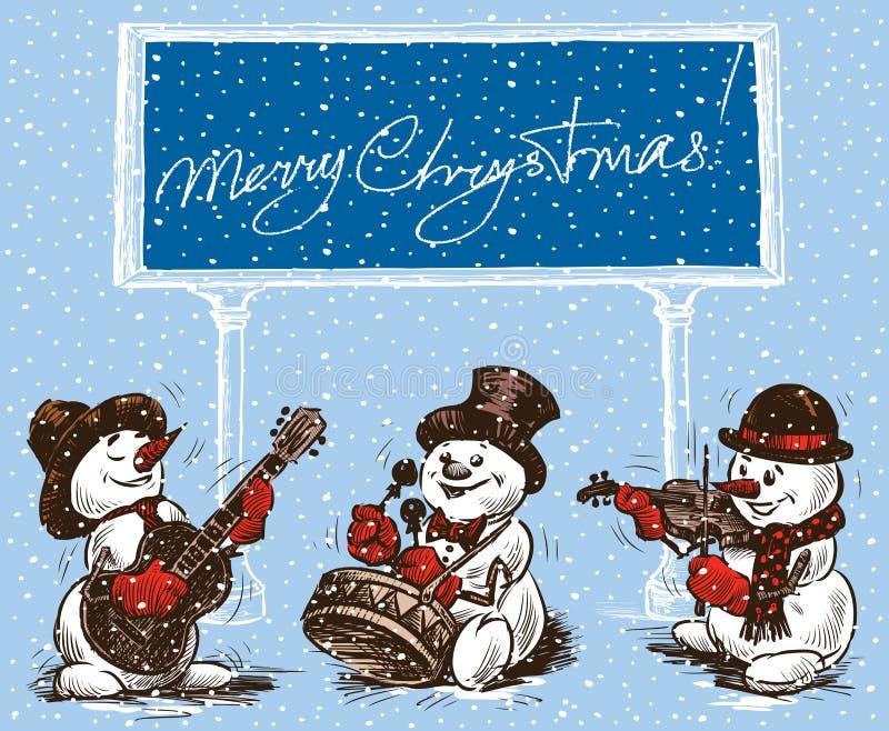 Snögubbemusiker i jul vektor illustrationer