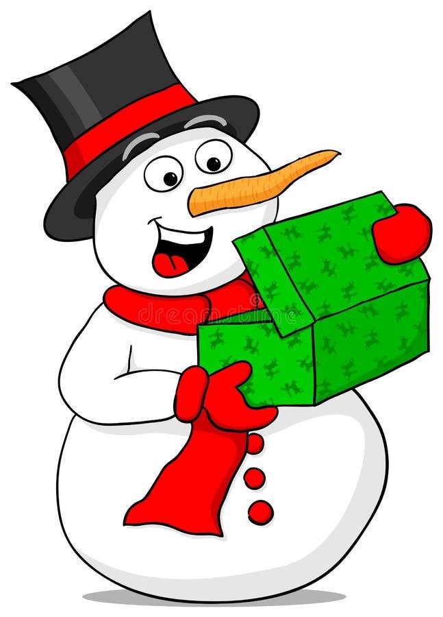 Snögubben är upphetsad om en julgåva royaltyfri illustrationer