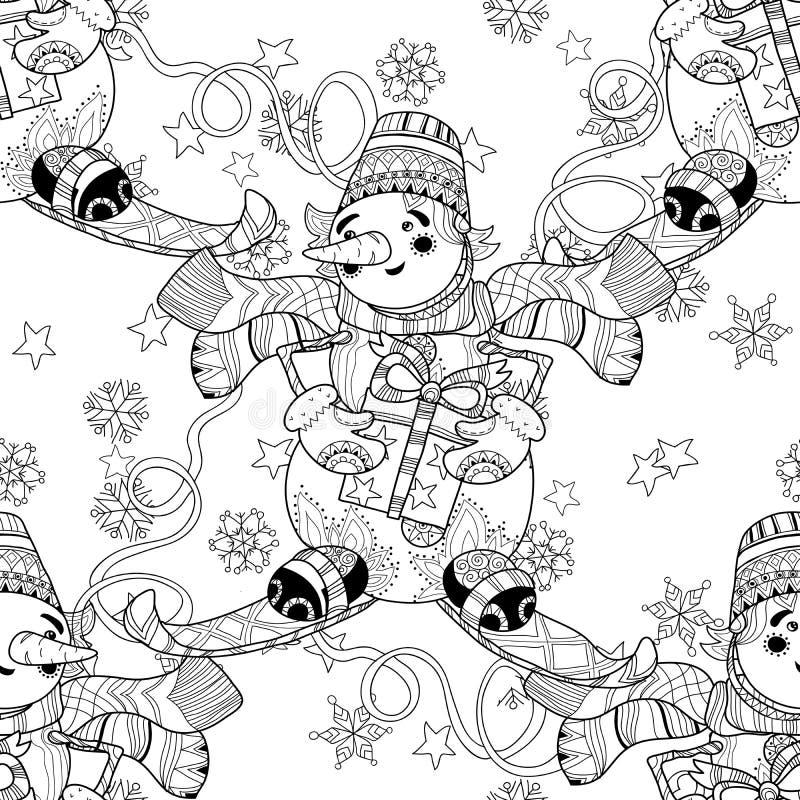 Snögubben för jul för det Zentangle klottret skidar handen drog royaltyfri illustrationer