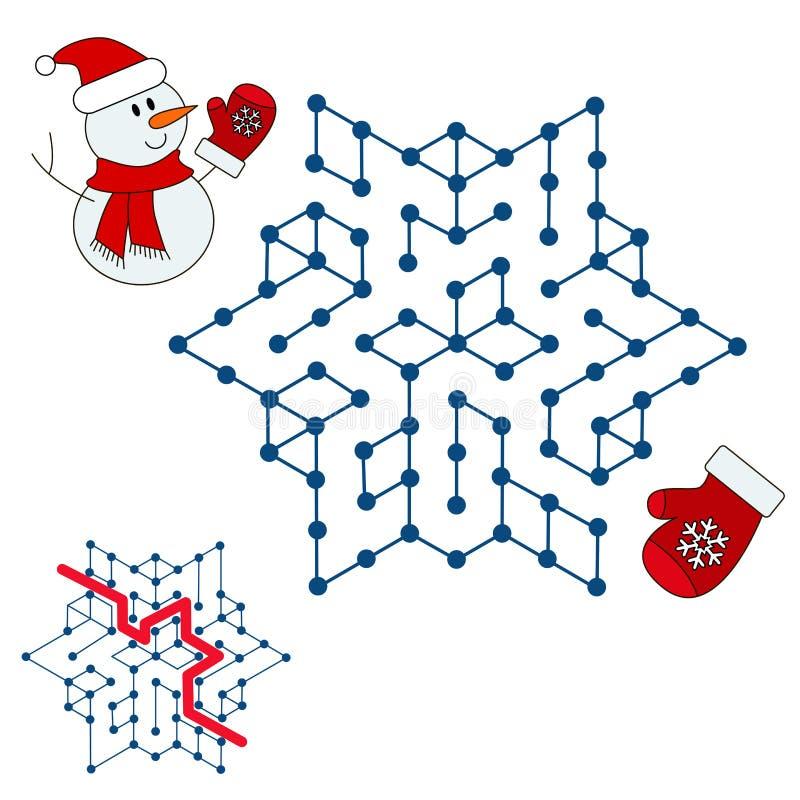 Snögubbesökande vägen Ungelabyrintlek vektor illustrationer